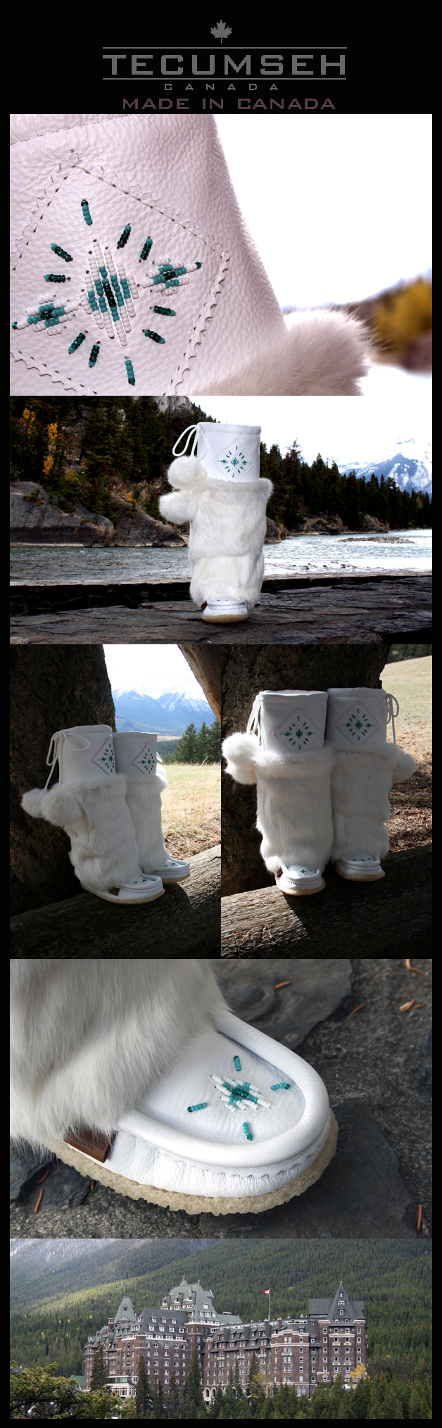 Womens white leather mukluks made in Canada